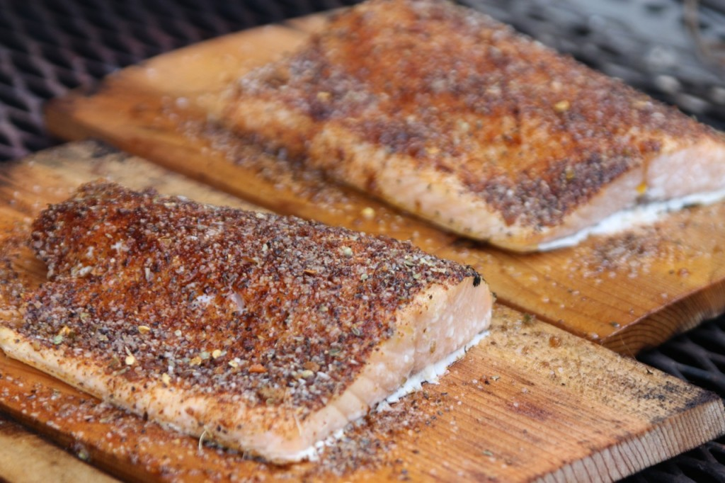 Salmon grilled on cedar plank 1024x682 Cedar Plank Grilled Spicy ...
