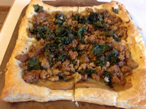 kale and sausage tart