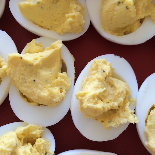 These zippy deviled eggs are the perfect dish for gluten and dairy-free diners to take to a potluck.