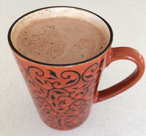 This non-dairy hot chocolate means you can make a cup of cocoa and snuggle under a blanket while watching the snow fall.